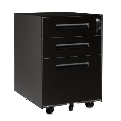 3-Drawer Black Mobile Metal File Cabinet with Lock and Keys
