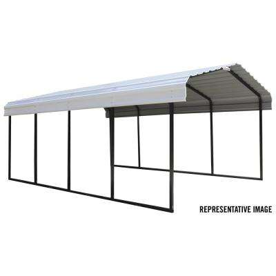 12 ft. W x 29 ft. D Black/Charcoal Galvanized Steel Carport