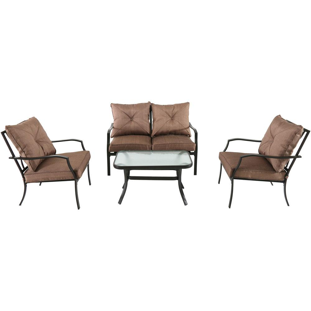 Palm Bay 4-Piece Steel Patio Conversation Set with Copper Brown Cushions