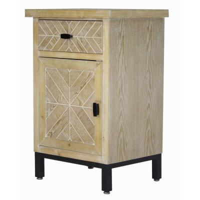 Shelly Assembled 18.9 in. x 18.9 in. x 15 in. White Wash Iron Accent Storage Cabinet with a Wood Drawer and Door