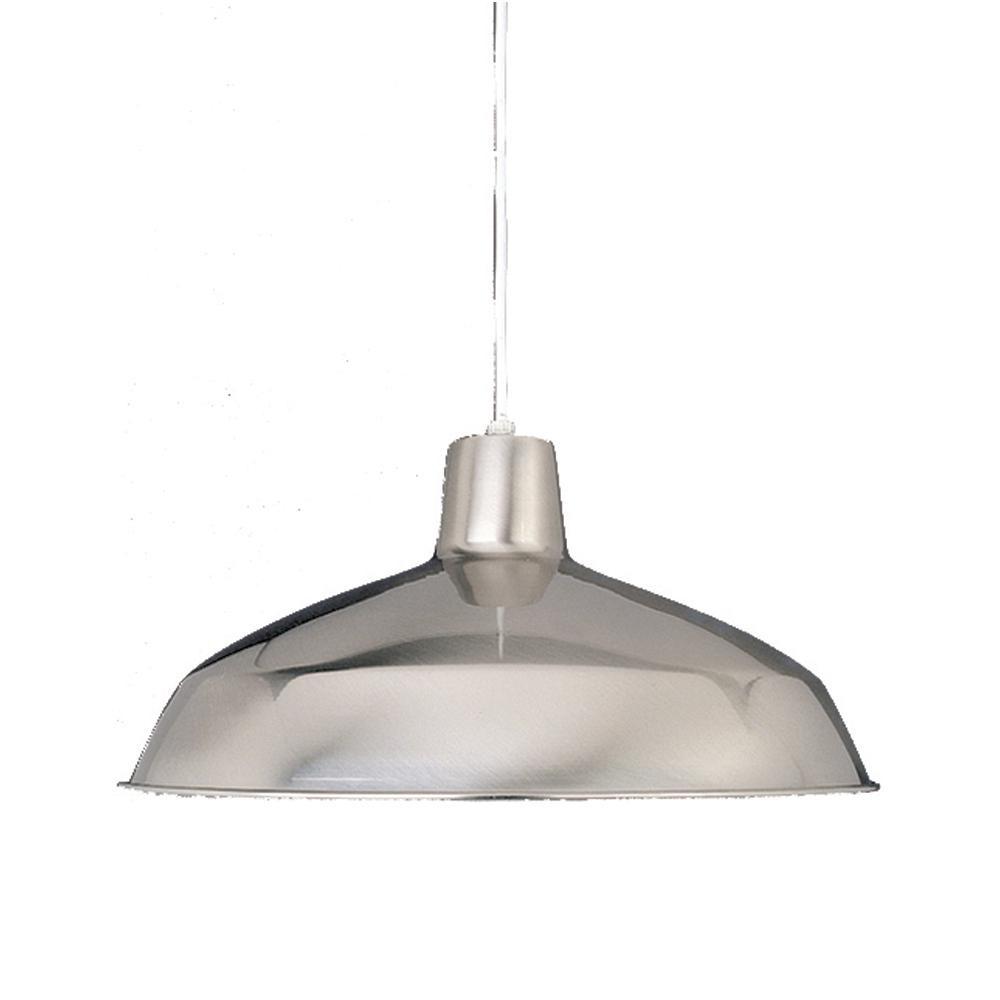 Volume Lighting 1-Light Interior/Indoor Brushed Nickel Barn/RLM/Inverted/Bowl Hanging Pendant