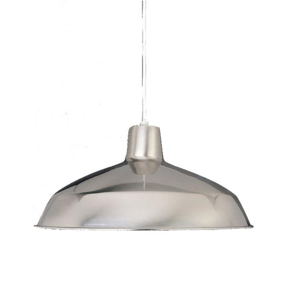 1-Light Interior/Indoor Brushed Nickel Barn/RLM/Inverted/Bowl Hanging Pendant