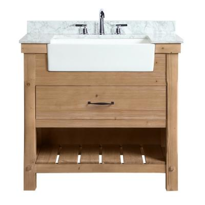 Marina 36 in. Single Bath Vanity in Driftwood with Marble Vanity Top in Carrara White with White Farmhouse Basin