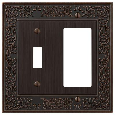 Bleinhem 2 Gang 1-Toggle and 1-Rocker Metal Wall Plate - Aged Bronze