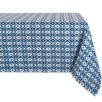 Outdoor 60 in. x 120 in. Blue Ikat Polyester Tablecloth