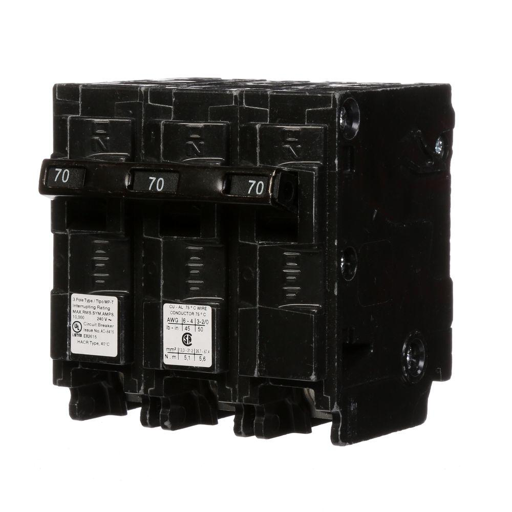 murray 70 amp 3 pole type mp circuit breaker mp370 the home depot. Black Bedroom Furniture Sets. Home Design Ideas