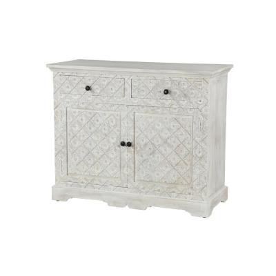 Whitewashed Hand-Carved Mango Wood 2-Door Cabinet with 2-Drawers