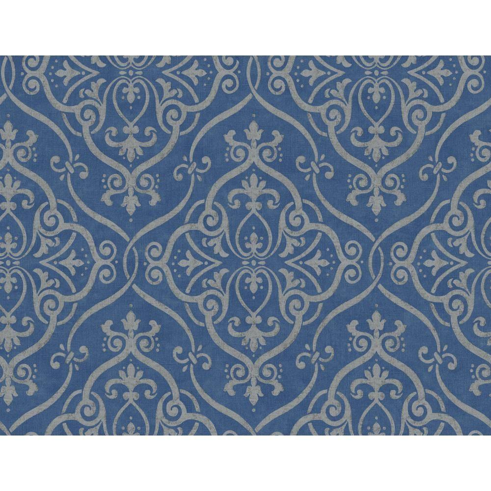 York Wallcoverings Taupe Grasscloth Strippable Non Woven: York Wallcoverings Glam Leaves Jacobean Wallpaper-Y6150403