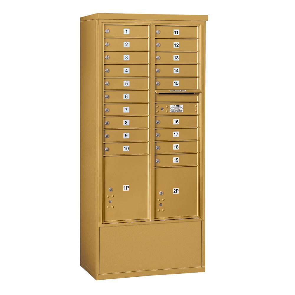 Salsbury Industries 3900 Horizontal Series 19-Compartment 2-Parcel Locker Free Standing Mailbox