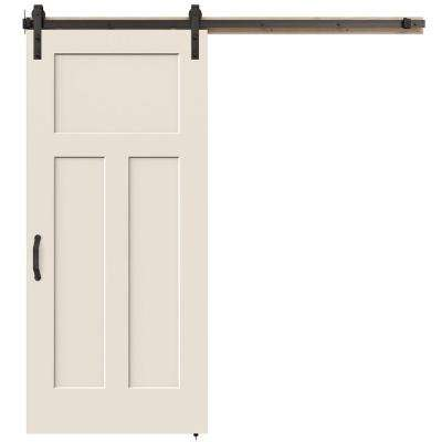 36 in. x 84 in. Craftsman Primed Smooth Molded Composite MDF Barn Door with Rustic Hardware Kit