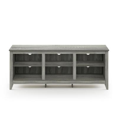 Jensen 60 in. French Oak Gray Particle Board TV Console Fits TVs Up to 65 in. with Cable Management