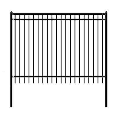 Nice Style 6 ft. x 8 ft. Black Unassembled Steel Fence Panel