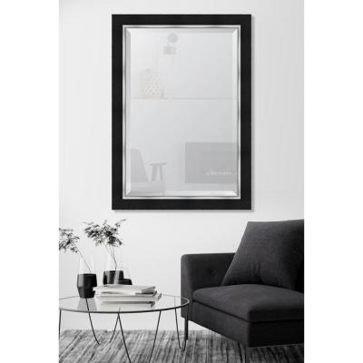 30 in. x 42 in. Black and Silver Framed Rectangular Beveled Glass Mirror