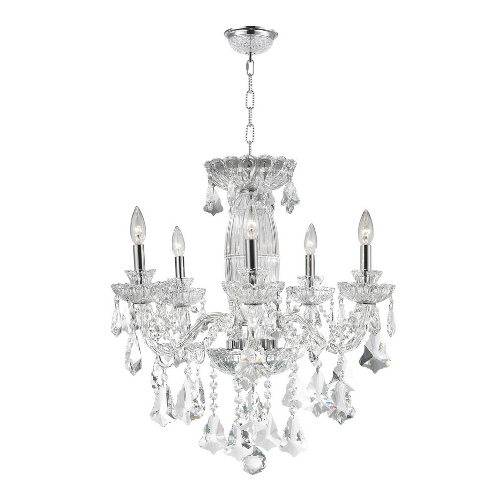 Olde World 5-Light Polished Chrome and Clear Crystal Chandelier