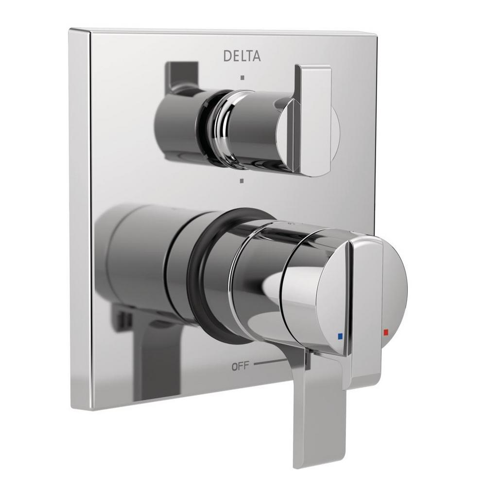 Delta Ara Modern 2-Handle Wall-Mount Valve Trim Kit with 6-Setting  Integrated Diverter in Chrome (Valve Not Included)
