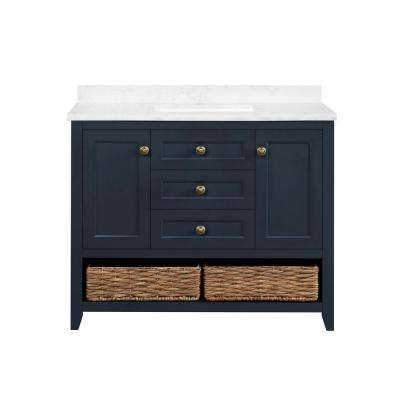 Granary 42 in. Bath Vanity in Midnight Blue with Cultured Marble Vanity Top in White with White Basin