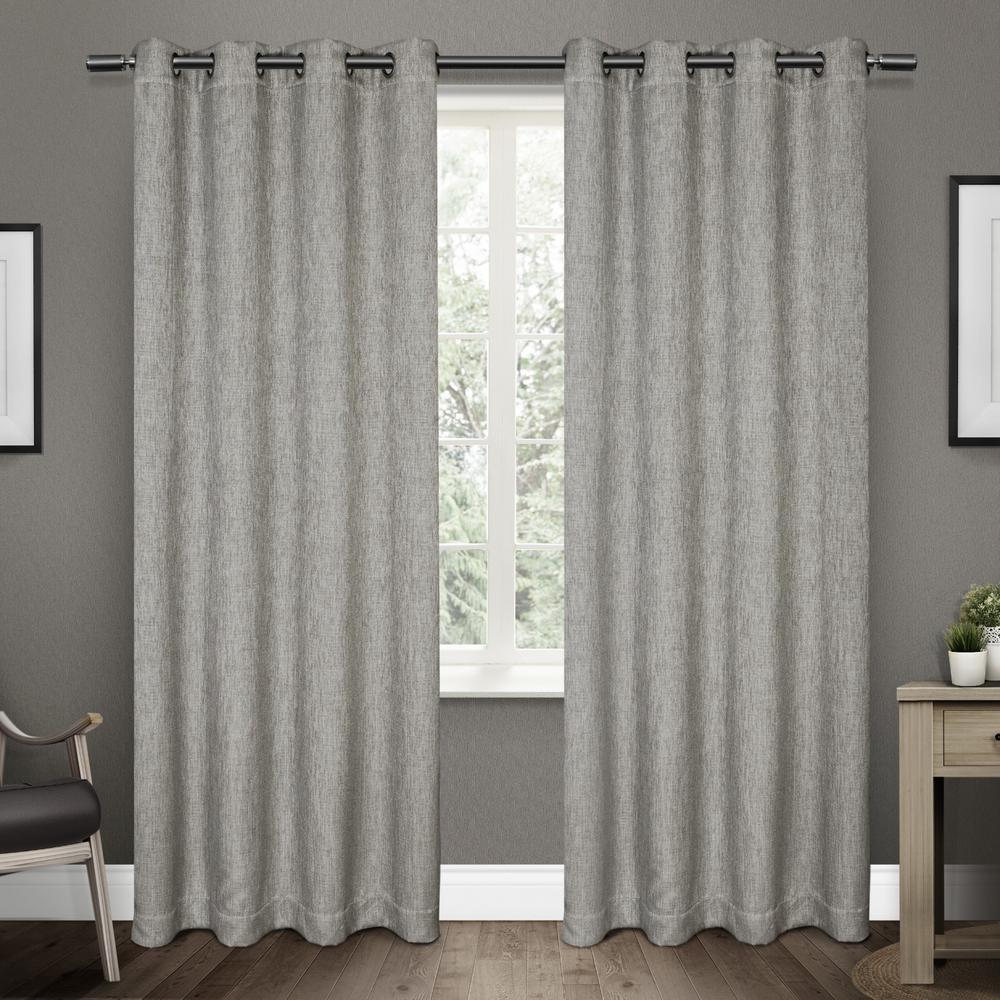 Vesta 52 in. W x 108 in. L Woven Blackout Grommet Top Curtain Panel in Black Pearl (2 Panels)