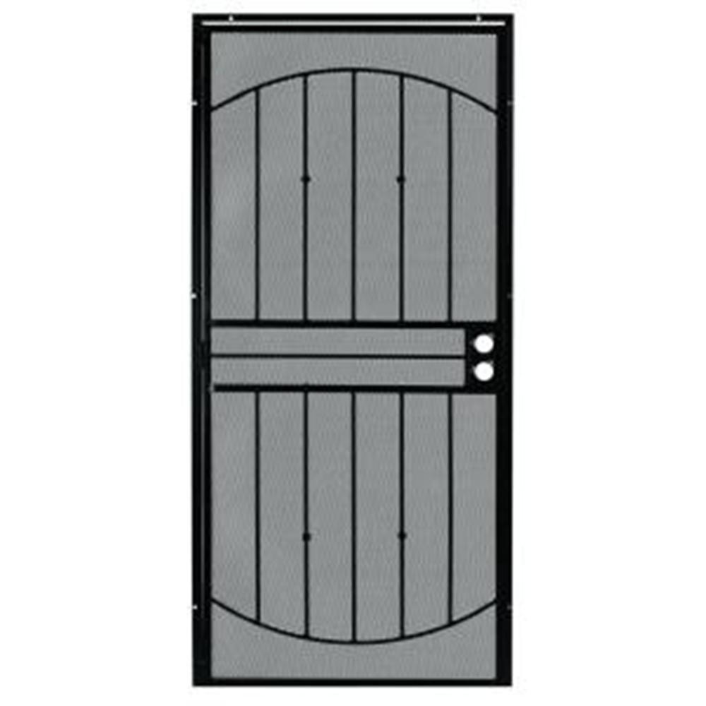 Grisham 36 in x 80 in 555 series tuscany black steel for Metal security doors