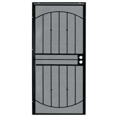 36 in. x 80 in. 555 Series Tuscany Black Steel Prehung Security Door