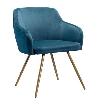 International Lux Blue Velvet Upholstery Chair