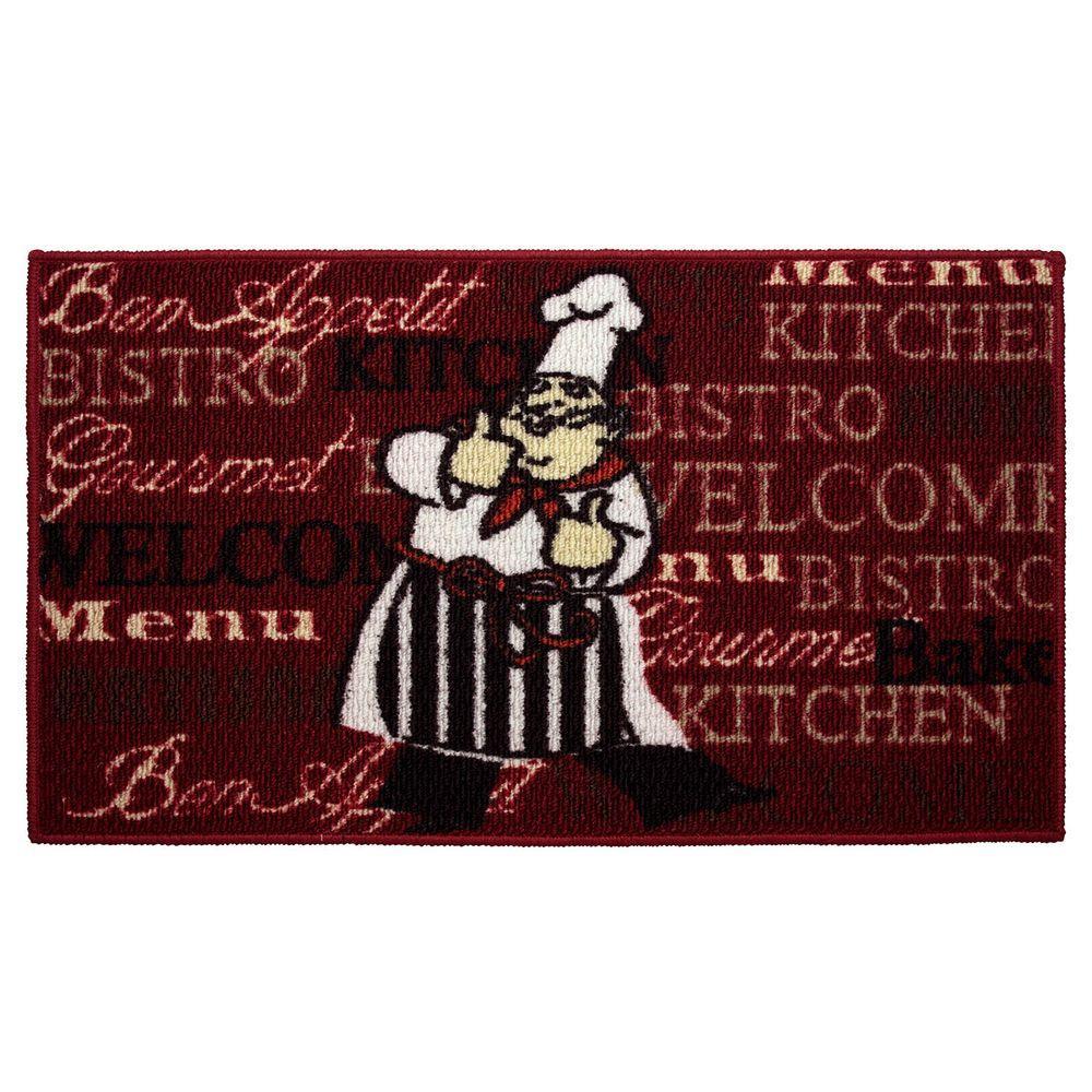 Bistro Chef 18 in. x 30 in. Textured Oblong Accent Kitchen Rug