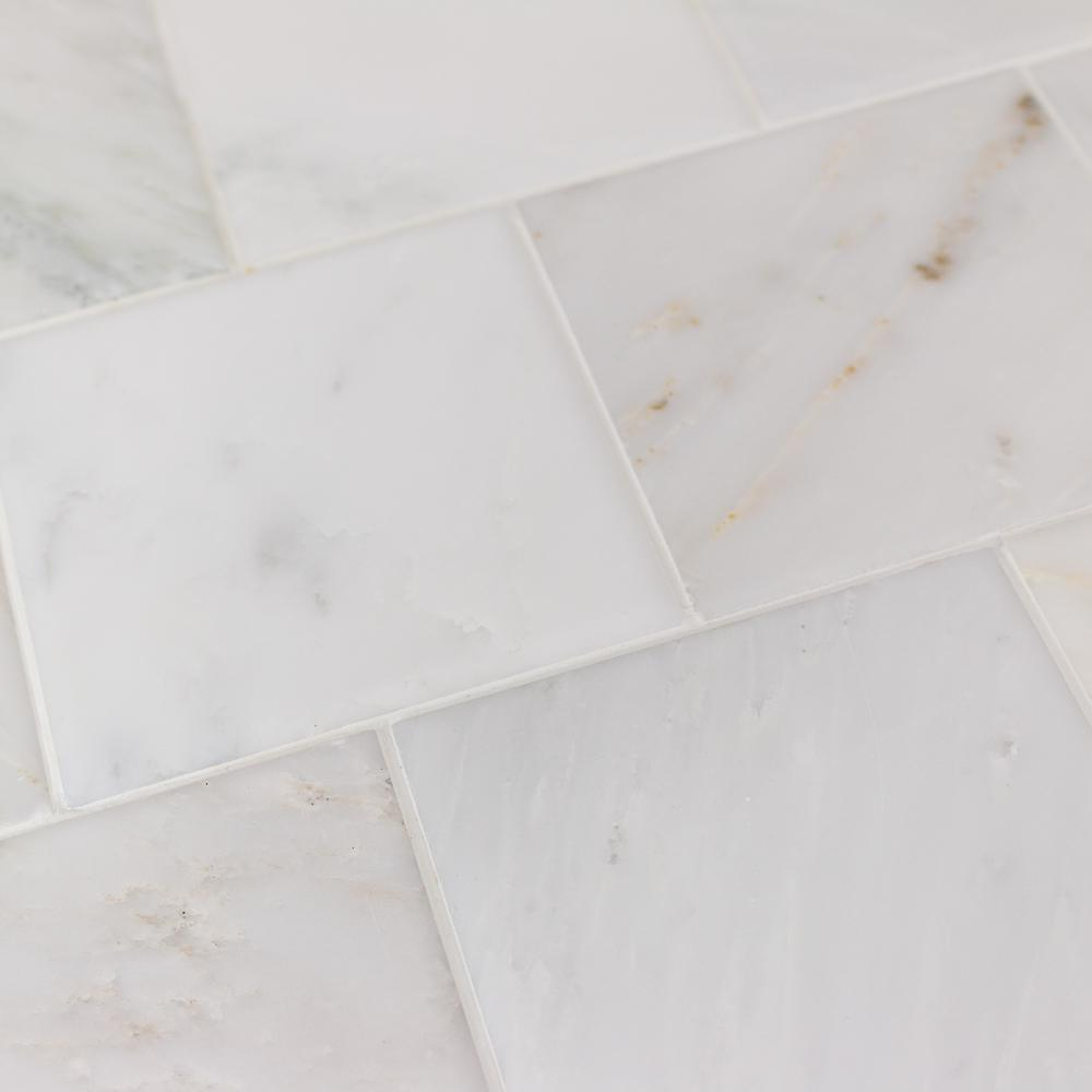 Ivy Hill Tile Brushed White Carrara Marble Floor And Wall 4 In X Sample