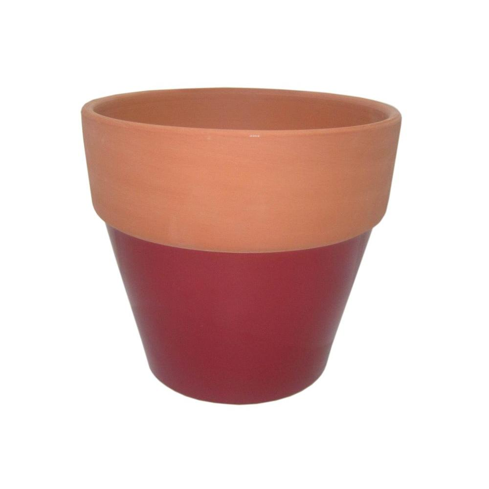8 1 2 In Round Glazed Clay Flower Pot Ybh026 The Home Depot