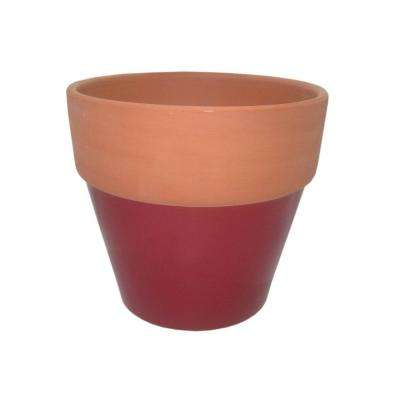 8-1/2 in. Round Glazed Clay Flower Pot