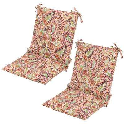 Chili Paisley Mid-Back Outdoor Dining Chair Cushion (2-Pack)