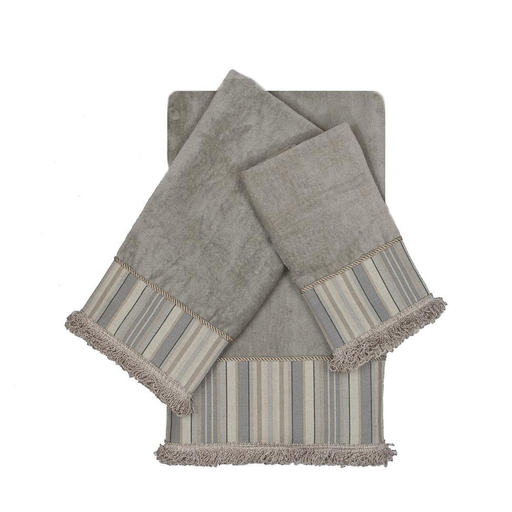 Aberdeen Stripe Grey Decorative Embellished Towel Set (3-Piece)