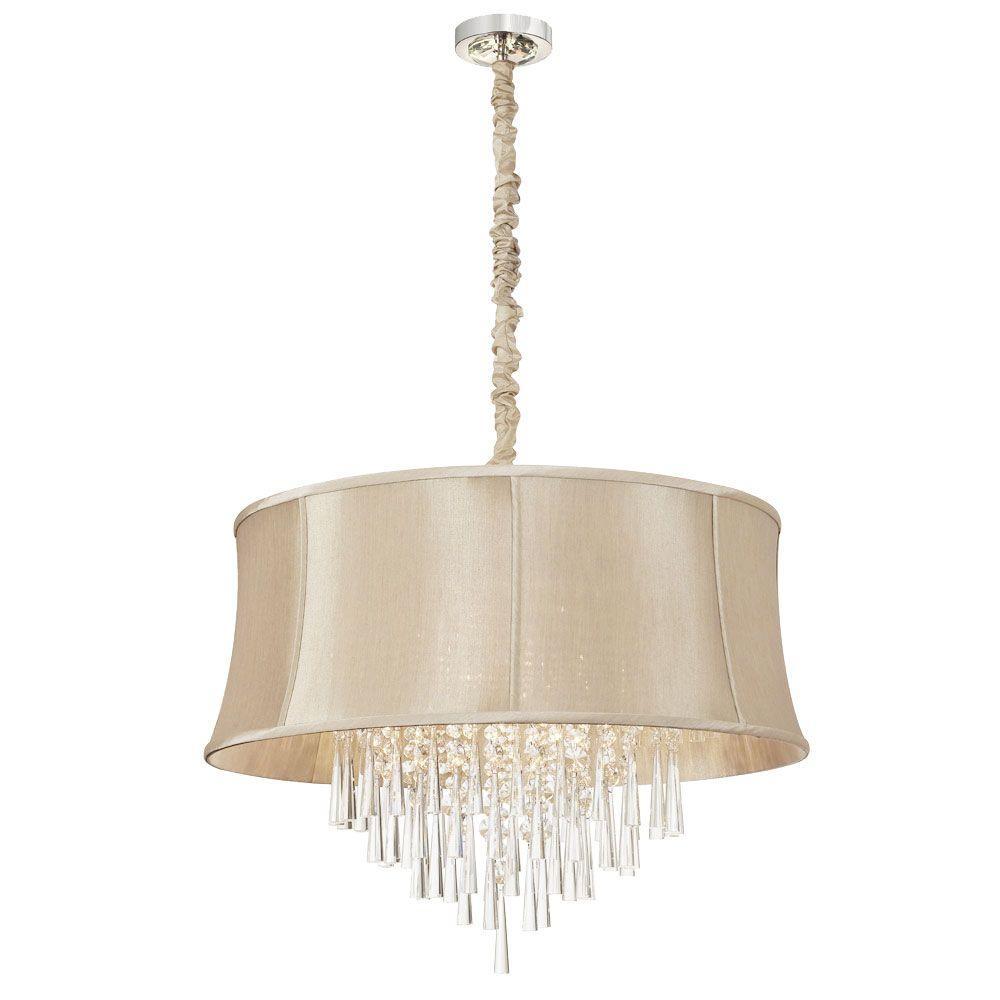 filament design margarete 8 light polished chrome chandelier with cream fabric shades cli. Black Bedroom Furniture Sets. Home Design Ideas