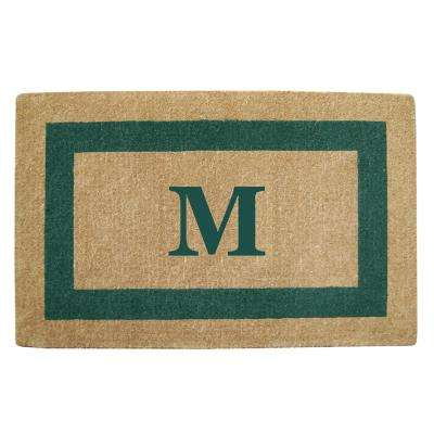 Single Picture Frame Green 30 in. x 48 in. Heavy Duty Coir Monogrammed M Door Mat