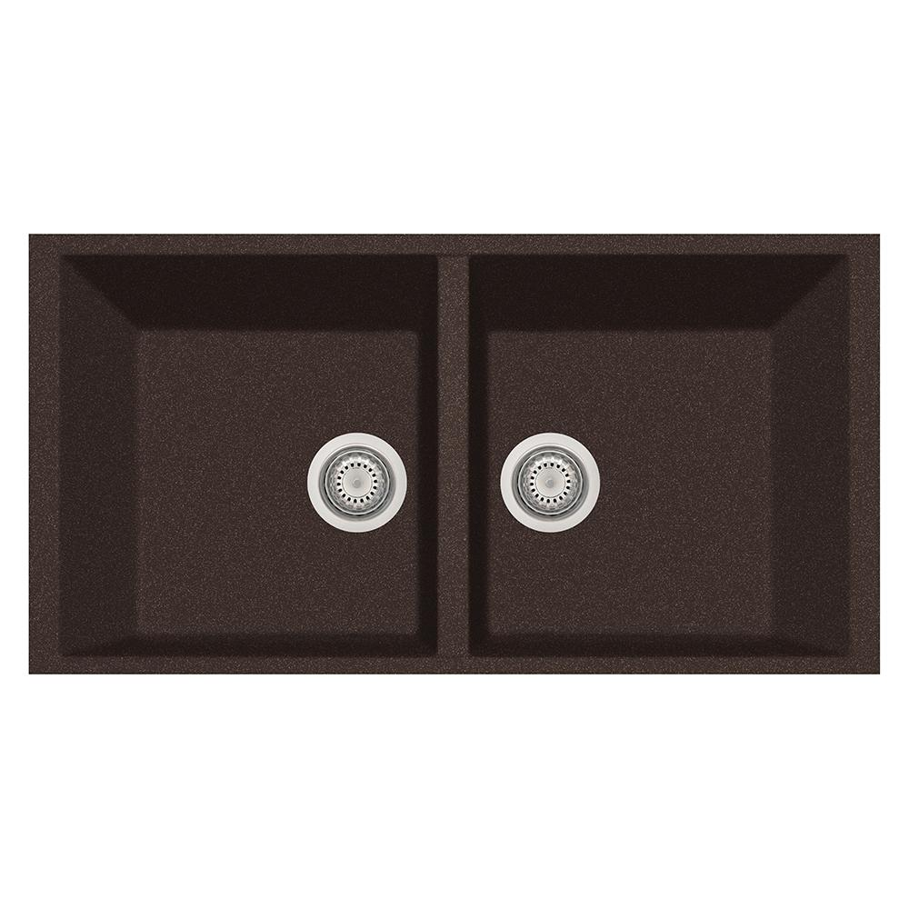 LaToscana Elegance Undermount Granite Composite 22 In. Double Bowl Kitchen  Sink In Brown AM8620ST 64   The Home Depot