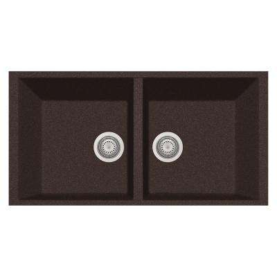 Elegance Undermount Granite Composite 22 in. Double Bowl Kitchen Sink in Brown
