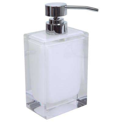 Acrylic Square Hand Soap Pump in White by Bath Bliss