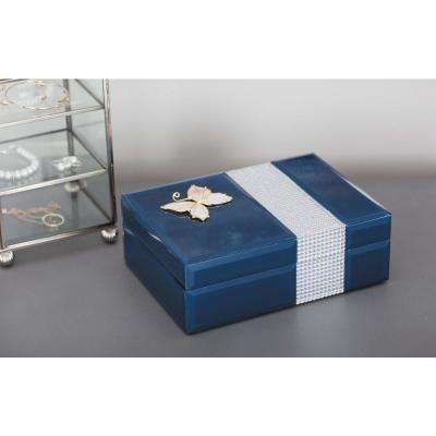 Jewelry Box with Gold Butterfly Sculpture in Blue