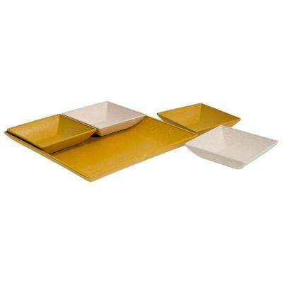 EVO Sustainable Goods Yellow Eco-Friendly Wood-Plastic Composite Serving & Snack Set (Set of 5)