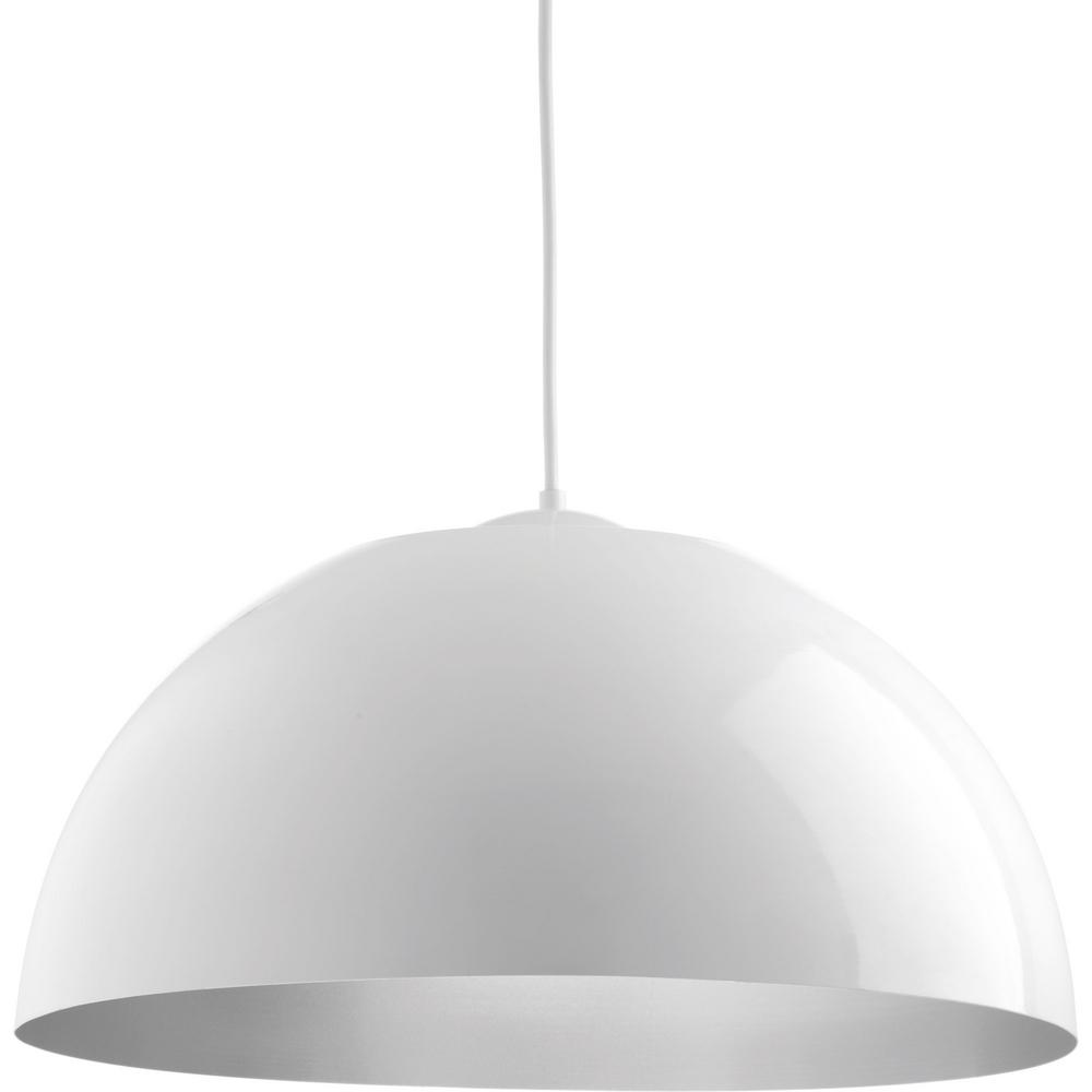 Progress Lighting Dome Collection 29 Watt White Integrated Led Pendant P5342 3030k9 The Home Depot