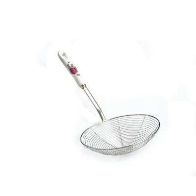 7 in. Stainless Steel Wire Strainer with Ceramic Rose Handle and Hook