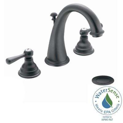 Kingsley 8 in. Widespread 2-Handle High-Arc Bathroom Faucet Trim Kit in Wrought Iron (Valve Not Included)