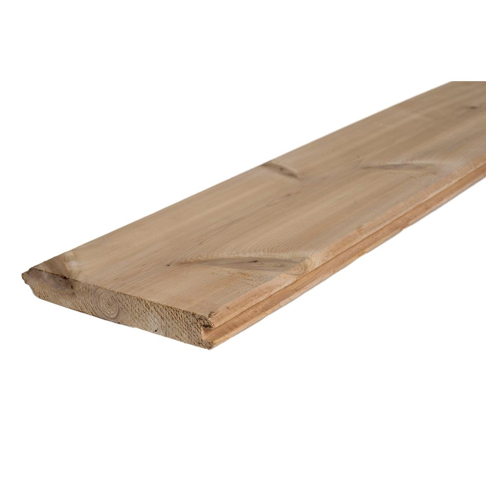 1 In X 6 In X 8 Ft Tongue And Groove Pattern Cedar Board 784525 The Home Depot