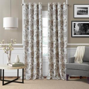 Sorrento Natural Single Blackout Window Curtain Panel - 52 inch W x 84 inch L by