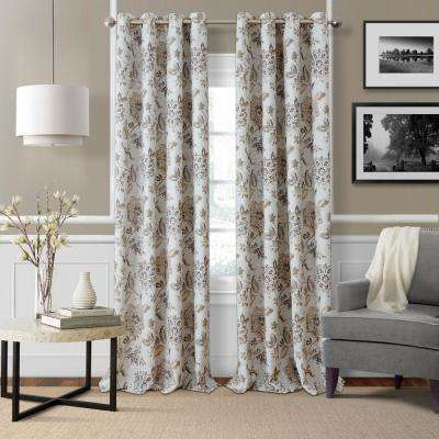 Sorrento Natural Single Blackout Window Curtain Panel - 52 in. W x 84 in. L