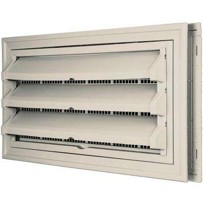 9-3/8 in. x 17-1/2 in. Foundation Vent Kit with Trim Ring and Optional Fixed Louvers (Molded Screen) in #048 Almond