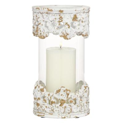 """Large, Round Antique White Acanthus and Glass Candle Holder, 6"""" x 10"""""""
