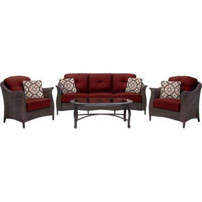 Gramercy 4-Piece All-Weather Wicker Patio Deep Seating Set with Crimson Red Cushions