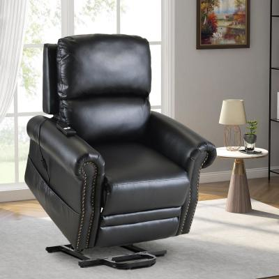 Black Heavy Duty PU Leather Power Lift Recliner Chair