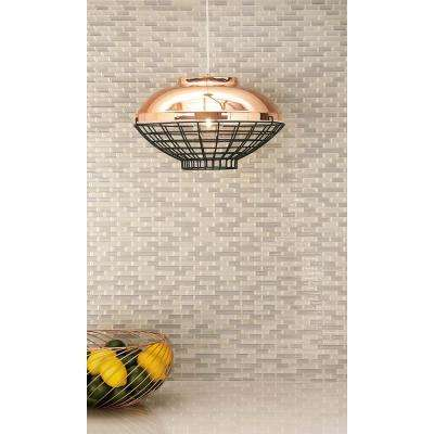 Industrial Rose-Gold Iron Light Pendant with Iron Mesh Shade