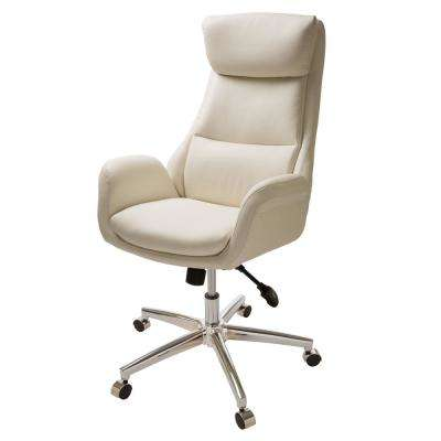 Mid-Century Modern Cream Bonded Leather Gaslift Adjustable Swivel Office Chair