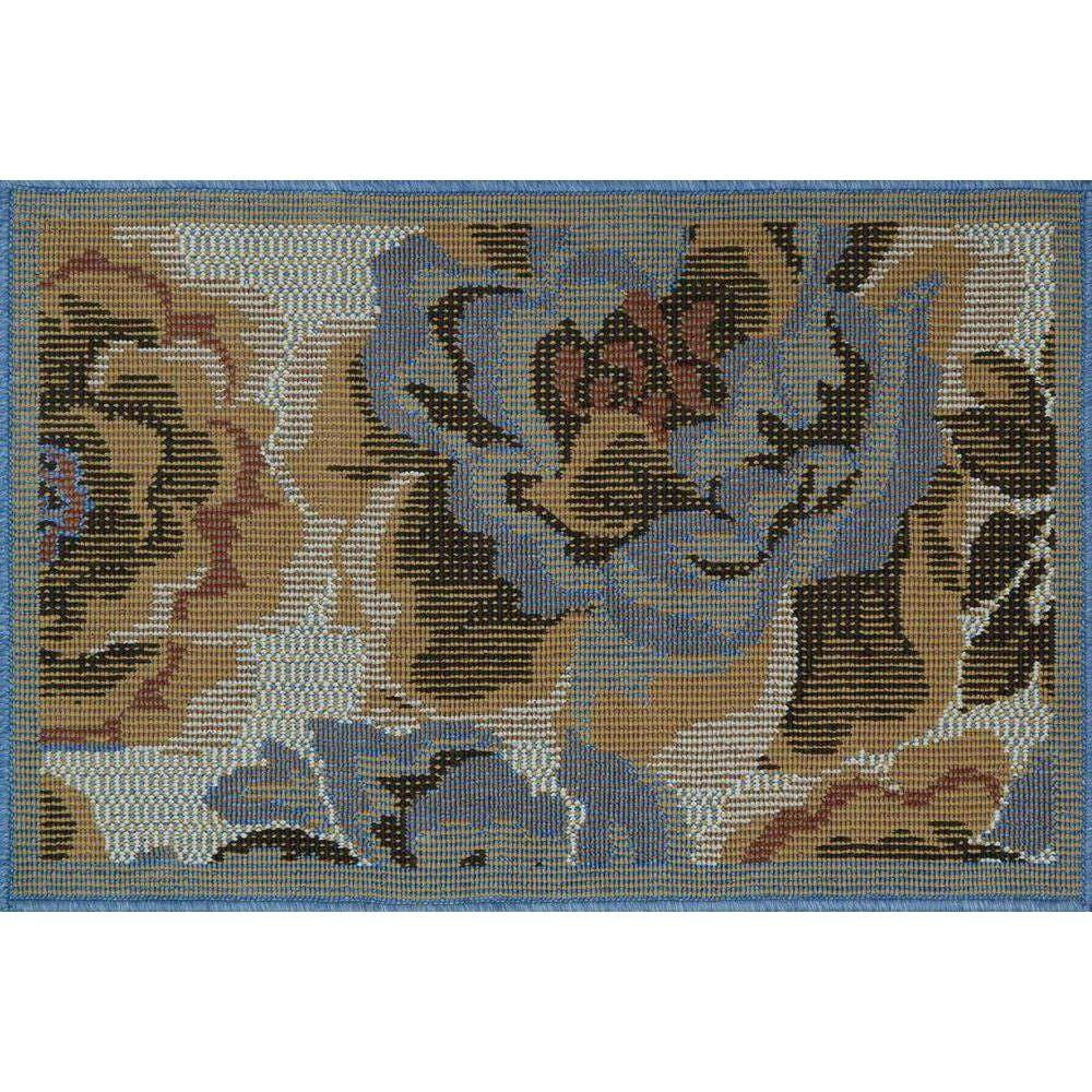 Loloi Rugs Augusta Lifestyle Collection Blue Rose 1 ft. 9 in. x 2 ft. 9 in. Accent Rug-DISCONTINUED